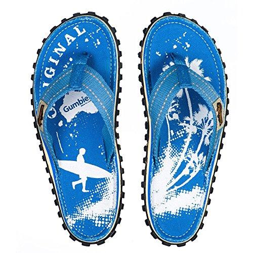 Gumbies - Sandalias de algodón para mujer Sky Blue Palm Print