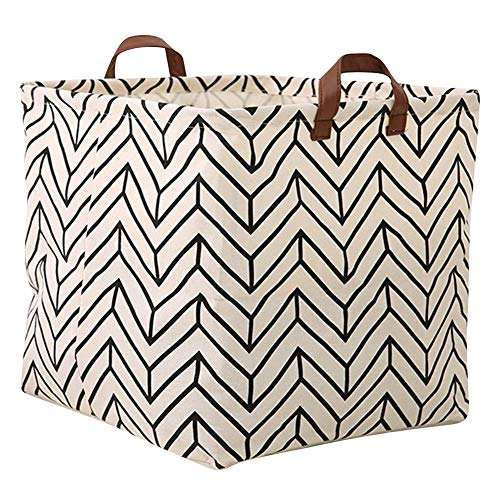 - Storage Basket, Large Size Basket Storage - Waterproof and Folding Canvas Fabric Kids Laundry Basket (White Geometry)