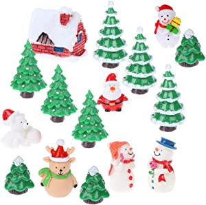 OBANGONG Christmas Miniature Ornaments Kit with Resin Snowmen,Reindeer,Santa Clause,Xmas Tree Fairy Garden Dollhouse Decoration