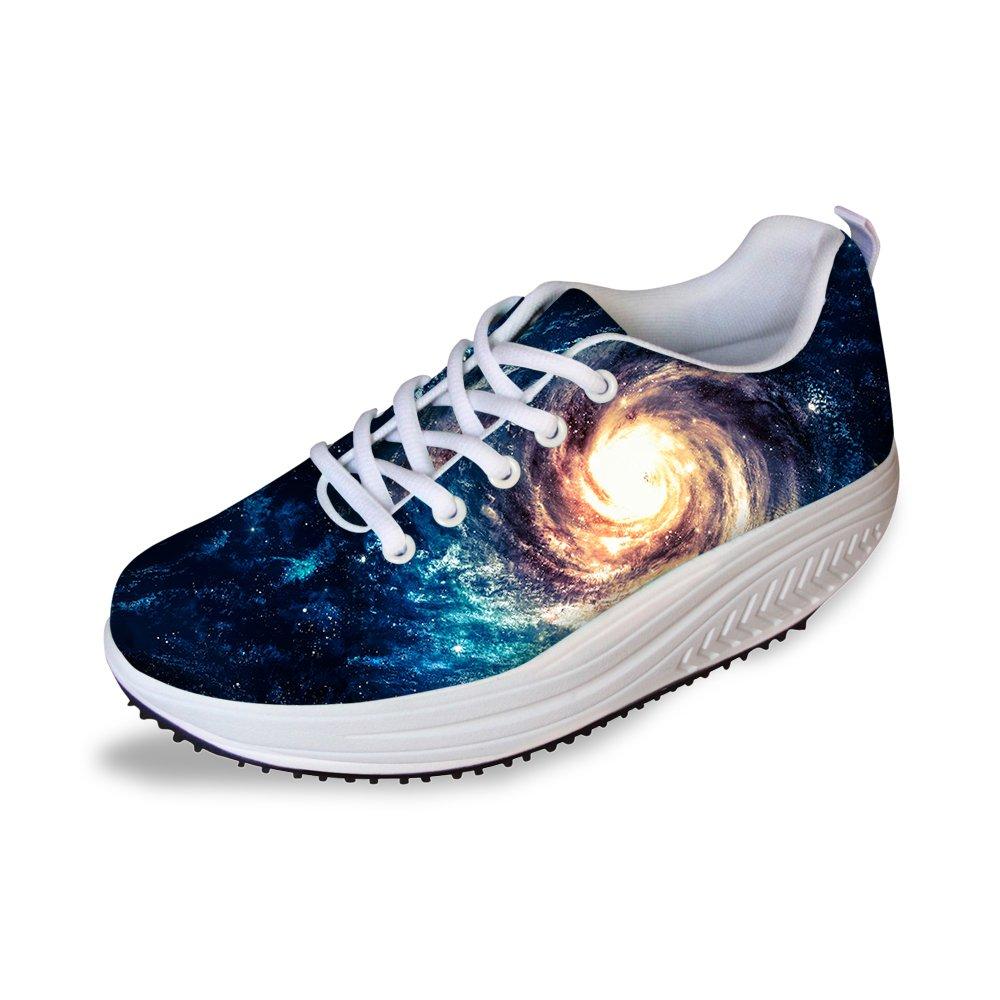 HUGS IDEA Galaxy Womens Fashion Walking Fitness Shoes Comfort Platform Sneakers US9
