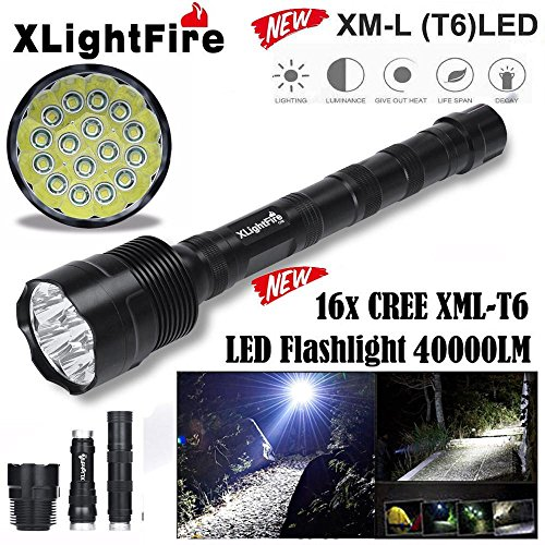 Boofab Tactical Flashlight,XLightFire T6 5 Mode Super Bright LED Flashlight Zoomable Tactical Flashlight Rainproof Lighting Lamp Torch -with Rechargeable 18650 2800mAh Battery -For Cycling Hik by Boofab