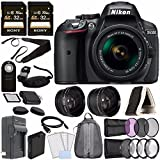 Nikon D5300 DSLR Camera with 18-55mm AF-P DX Lens (Black) + Battery + Charger + Sony 32GB Card + HDMI + Backpack Case + Remote Bundle