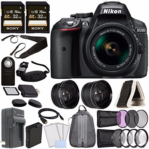 Nikon D5300 DSLR Camera with 18-55mm AF-P DX Lens (Black) + Battery + Charger + Sony 32GB Card + HDMI + Backpack Case + Remote Bundle ()
