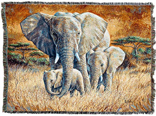 Pure Country Weavers | Loving Mother African Elephant and Calf Woven Tapestry Throw Blanket with Fringe Cotton USA 72x54