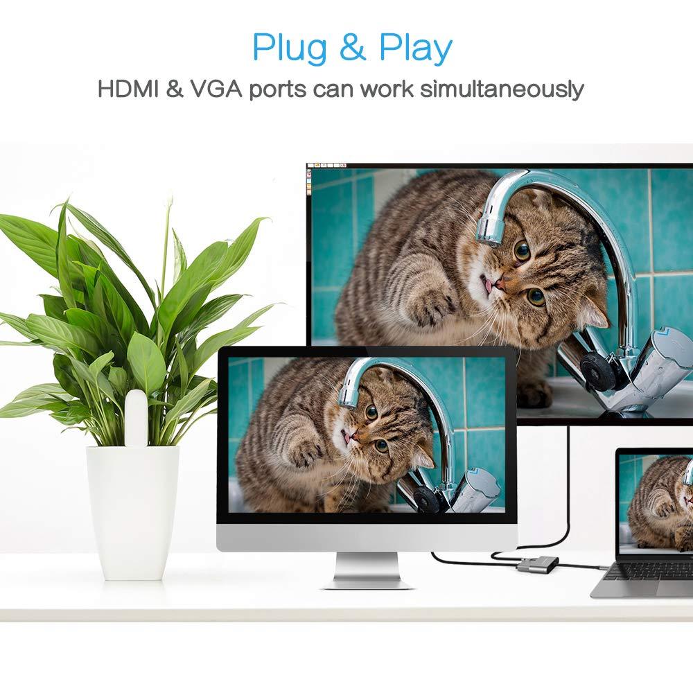 PS4 PS3 und mehr Typ C USB C Ger/äte 2 in 1 USB C auf VGA HDMI Adapter MacBook Pro//Air Xbox 360 One USB Hub Typ C Adapter Gecen USB 3.1 Typ C auf HDMI VGA 4k kompatibel mit Laptops