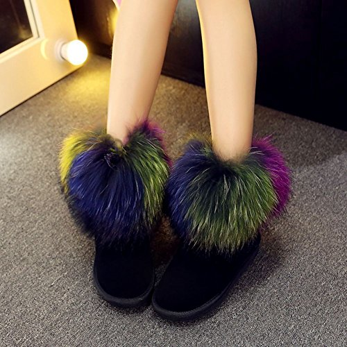 Womens Short Boots Cow Leather Color Fur Winter Snow Boots