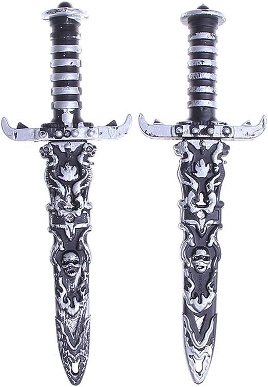 Acewen 2 Espadas de plástico 25 cm para Halloween, Juguete de Espada de Piratas para Disfraz de Pirata, Accesorios de Escenario, para Fiestas, Fotos, Espadas, Juguetes: Amazon.es: Hogar
