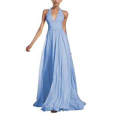 Damen Halfter V-Ausschnitt Abendkleid, Belted Chiffon Lange Abend ...