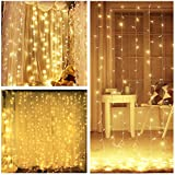 LIGHTESS 300 LED String Fairy Light Curtain Lights 8 Mode Outdoor/Indoor Use For Home Garden Patio Lawn Wedding Birthday Party Holiday Decoration (Warm White)