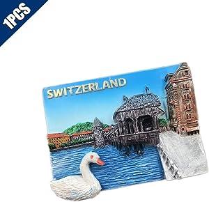 Comidox 1Pcs Vintage 3D Resin Souvenir Fridge Magnet Countries Architectural Landscape Refrigerator Sticker Souvenir Tourist Gift-Switzerland Swan Lake