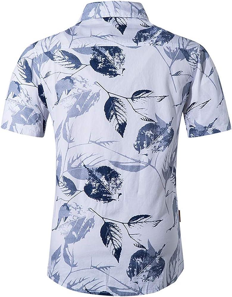 QHF Mens Hawaiian Printed Shirt Men Animal Print Short Sleeve Beach Shirt Asian-Size4,L