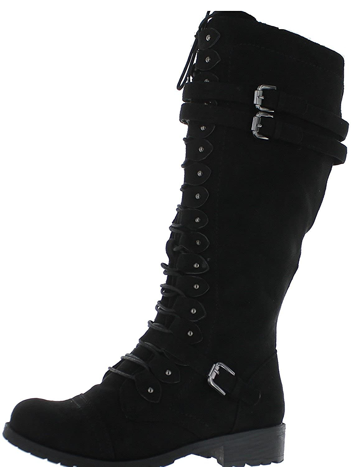 Black Suede Wild Diva Timberly-65 Lace Up Knee Boots