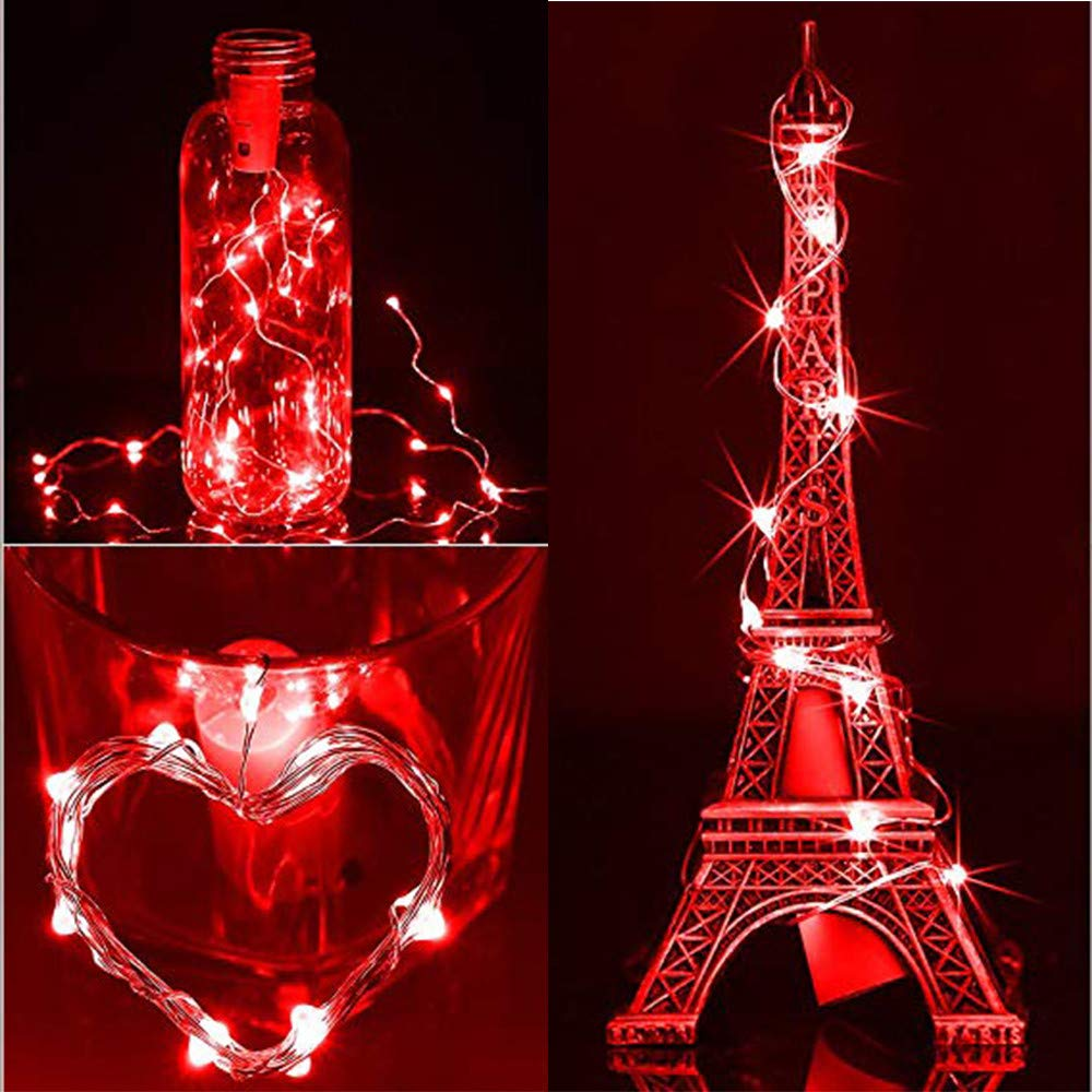 Solar LED String Light, Elevin(TM) 1M 10LED Solar Cork Wine Bottle Stopper Copper Wire String Lights Fairy Lamps (Red)