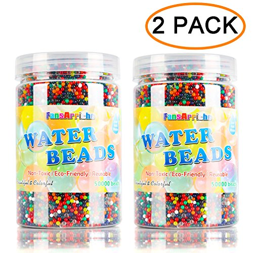 FansArriche Water Beads, 20 ounces (Over 100,000 beads) 12 Colors Orbies Beads Jelly Water Gel Water Growing Balls for Orbeez Spa Refill,Kids Tactile Sensory Toys, Plants Vases, Party (2 PACK)