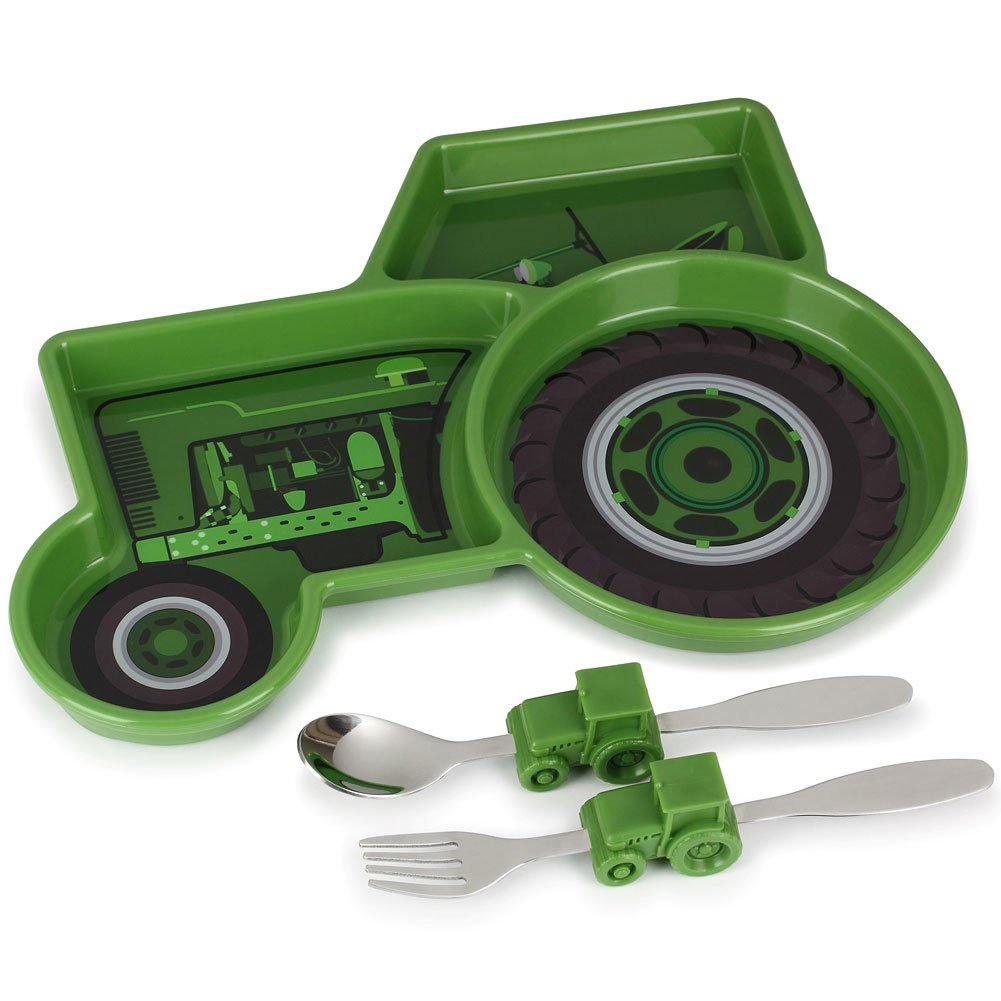 KidsFunwares Tractor Me Time Meal Set, Portion Control Divided Plate with Fork and Spoon for Kids by KidsFunwares