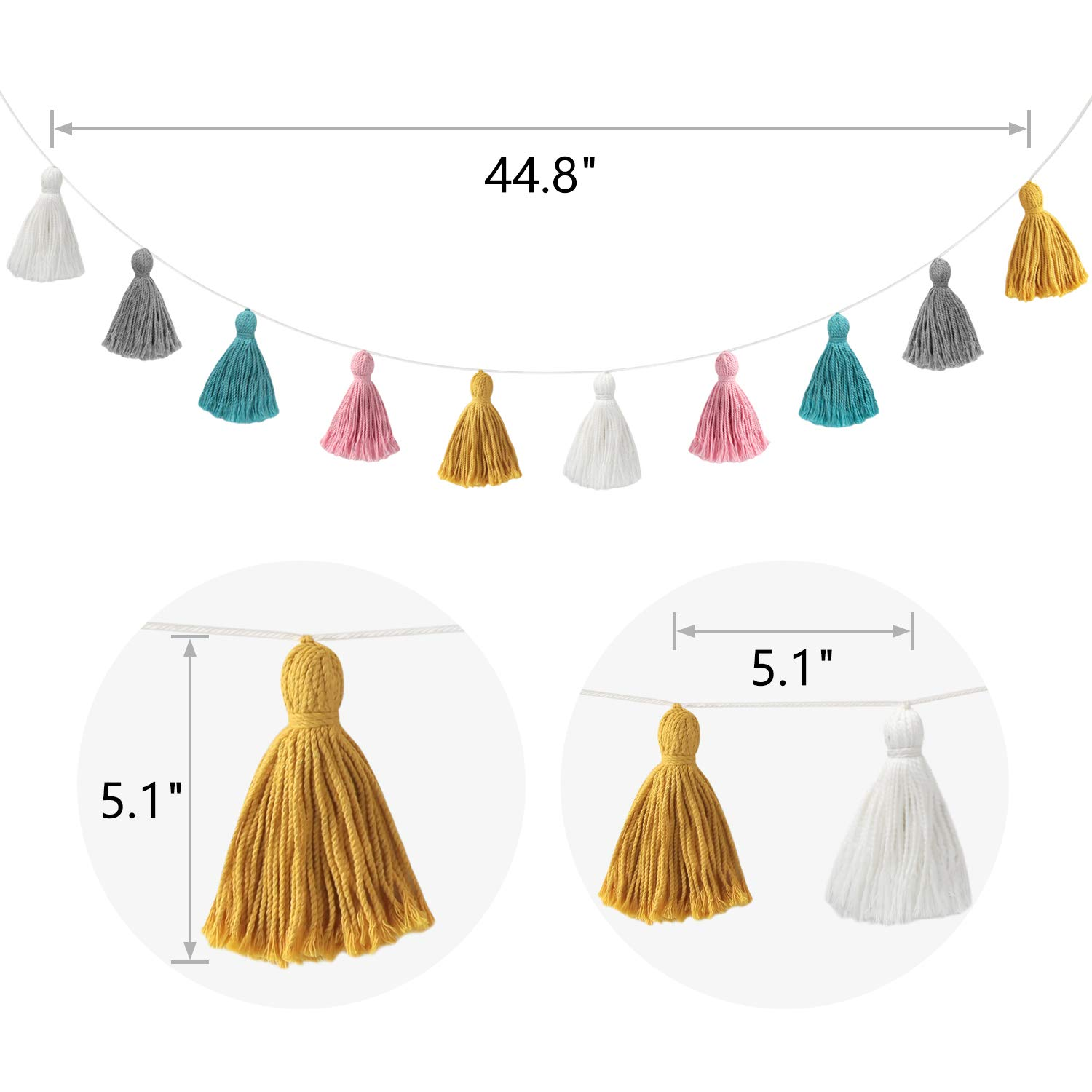 Baby Shower Birthday Mkono 2 Pack Cotton Tassel Garland Banner Colored Party Backdrop Decorative Wall Hangings Llama Decorations for Bedroom Nursey Dorm Room Girls Boho Home Decor,New Year Gift