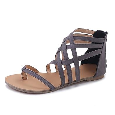 Damen Sommer Sandalen, Sandalen, Sandalen, Flache Peep Toe Römer Kreuzgurt Flip Flop 3baf66