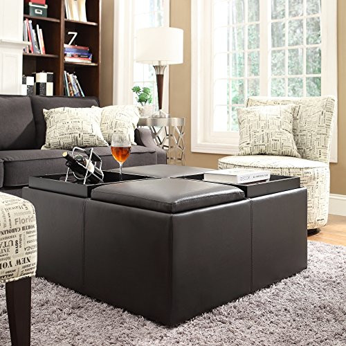 Metro Shop INSPIRE Q Montrose Faux Dark Brown Leather Multipurpose Storage Ottoman