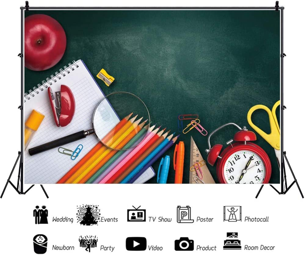 Leowefowa Back to School Backdrop 5x3ft Rustic Wood Table Stationery Flat-Lay Vinyl Photography Background New Semester Students Teacher Photo Shoot Props