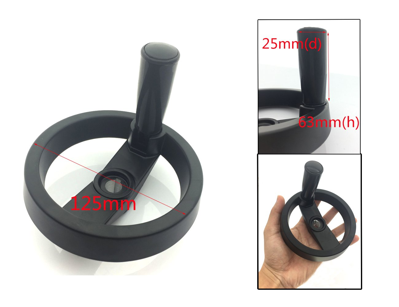 Uxcell a11081400ux0064 10 x 80mm Back Ripple Hand Wheel w Revolving Handle