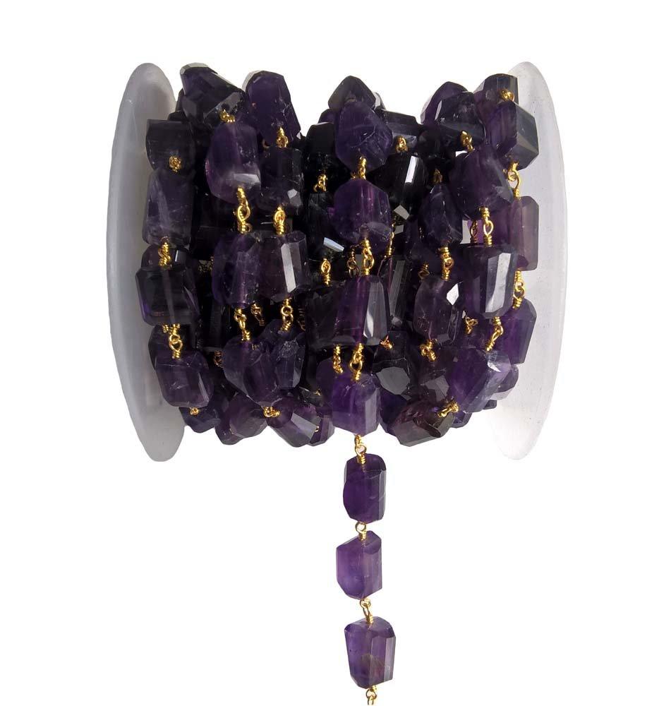 Amazon com: Tumbled Amethyst Bead Chain Gold by BESTINBEADS