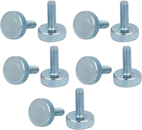 uxcell M5x16mm Flat Knurled Head Fully Threaded Thumb Screws Bolts Fastener 10pcs
