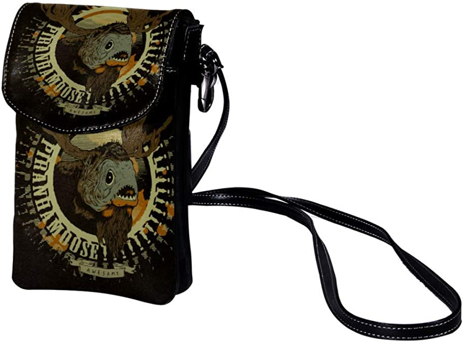 small crossbody bag for women and men anti theft shoulder bags zip leather bag crossbody Skull 7.5x4.7x0.8inch