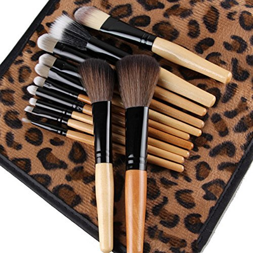 Makeup Brush Set 12pcs Make Up Brushes with a Leopard Cosmetic Bag by Broadfashion