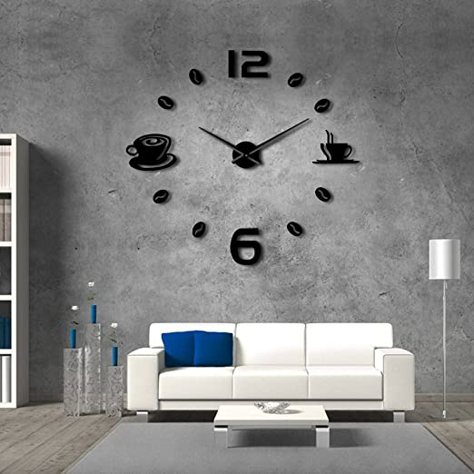 Amazon Com The Geeky Days Cafe Diy Large Wall Clock Frameless Giant Wall Clock Modern Design Cafe Coffee Mug Coffee Bean Wall Decor Kitchen Wall Watch Black Home Kitchen