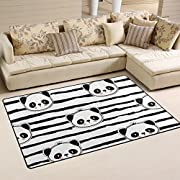 LORVIES Black And White Panda Bear Strip Pattern Area Rug Carpet Non-Slip Floor Mat Doormats for Living Room Bedroom 60 x 39 inches