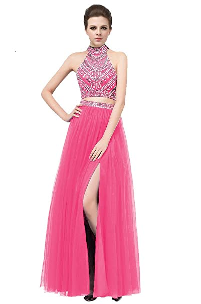 Elegant Two Piece 2 Fuchsia Prom Dresses Long Halter Vestidos de formatura Keyhole Back Side Split Sexy Evening Dresses Fuchsia-US2