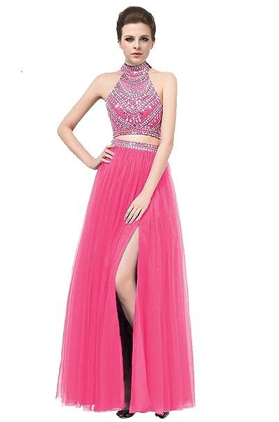 Elegant Two Piece 2 Fuchsia Prom Dresses Long Halter Vestidos de formatura Keyhole Back Side Split Sexy Evening Dresses Fuchsia-US2