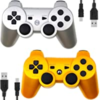Kepisa Wireless Controller for PS3 Playstation 3 Dual Shock(Pack of 2,Gold and Silver)