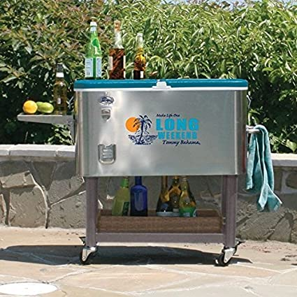 Amazon Com Tommy Bahama 100 Qt Stainless Steel Rolling Party Cooler 130 Can Capacity Garden Outdoor