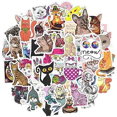 (Waterproof Cat Vinyl Stickers Bomb Laptop Water Bottle Folders Toys for Kids(50Pcs/Pack))