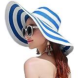 Itopfox Women's Beachwear Sun Hat Striped Straw Hat Floppy Big Brim Hat