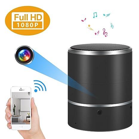 Cámara oculta WIFI Altavoz Bluetooth 1080P Cámara espía con lente giratoria de 180 ° y detección