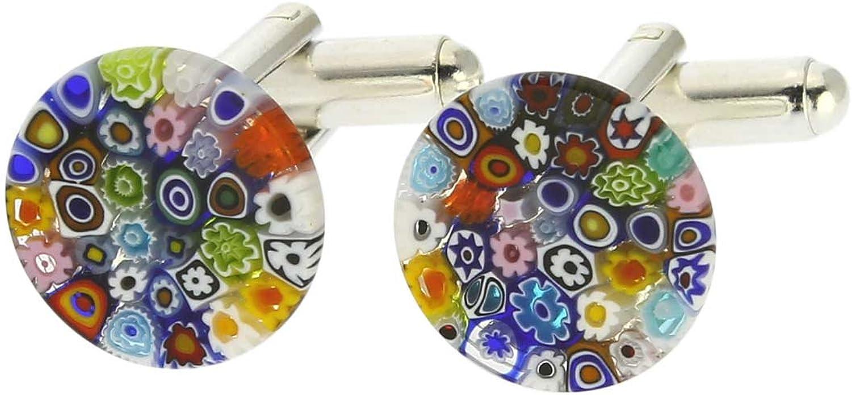 Orange Flower Glass /& Silver Murano Millefiori Floral Cufflinks.