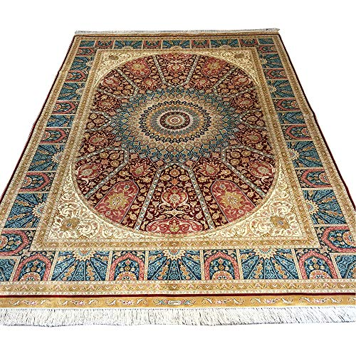 YUCHEN CARPET Persian Rug 5.5x8 Red Kashan Hand Knotted Oriental Silk Area Carpet for Living Room