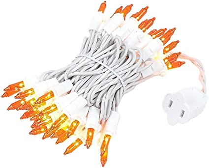 11 Long White Wire Novelty Lights 50 Light Amber Christmas Mini String Light Set Indoor//Outdoor UL Listed