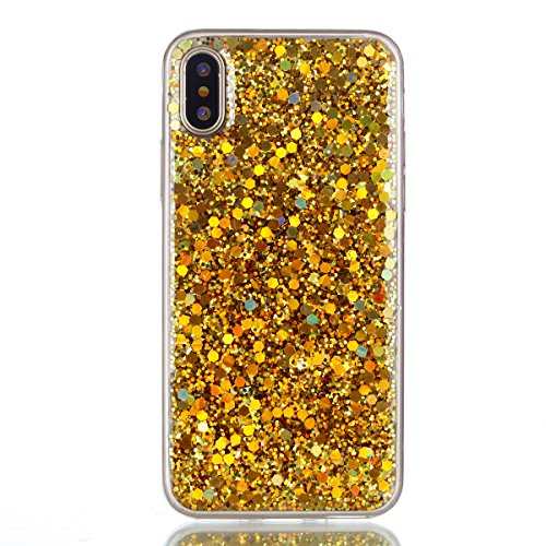 Scheam iPhone X iPhone Xs Clear Case Ultra Thin Anti-Slip TPU Cover Protective case Phone Case Slim for Back Shell iPhone X iPhone Xs (Golden)