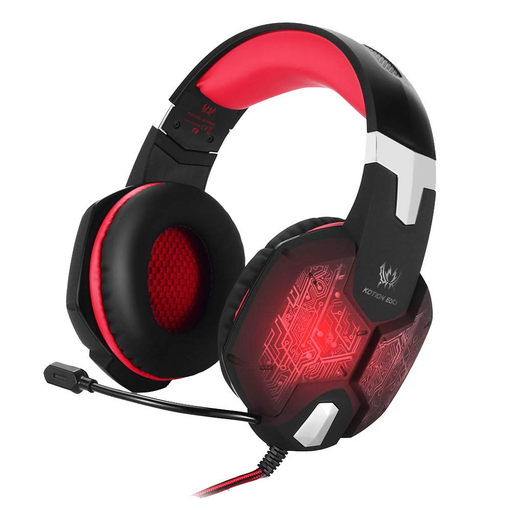 Sonmer Kotion Each G1000 Wired Bass Stereo Gaming Headset,With High-precision 50mm Magnetic Neodymium Driver,LED Backlit (Red)