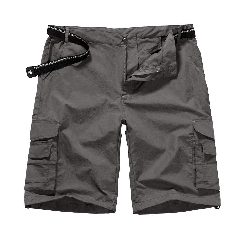 Men's Outdoor Casual Expandable Waist Lightweight Water Resistant Quick Dry Cargo Fishing Hiking Shorts #6013-Grey,34 by Jessie Kidden