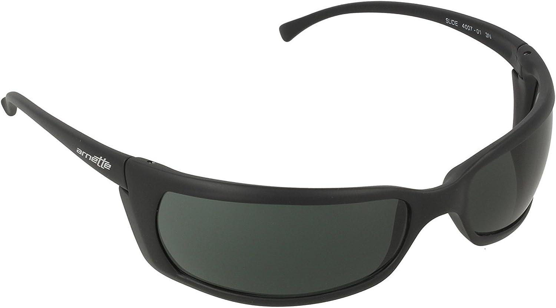 Arnette Men's AN4007 Slide Rectangular Sunglasses, Matte Black/Green, 66 mm