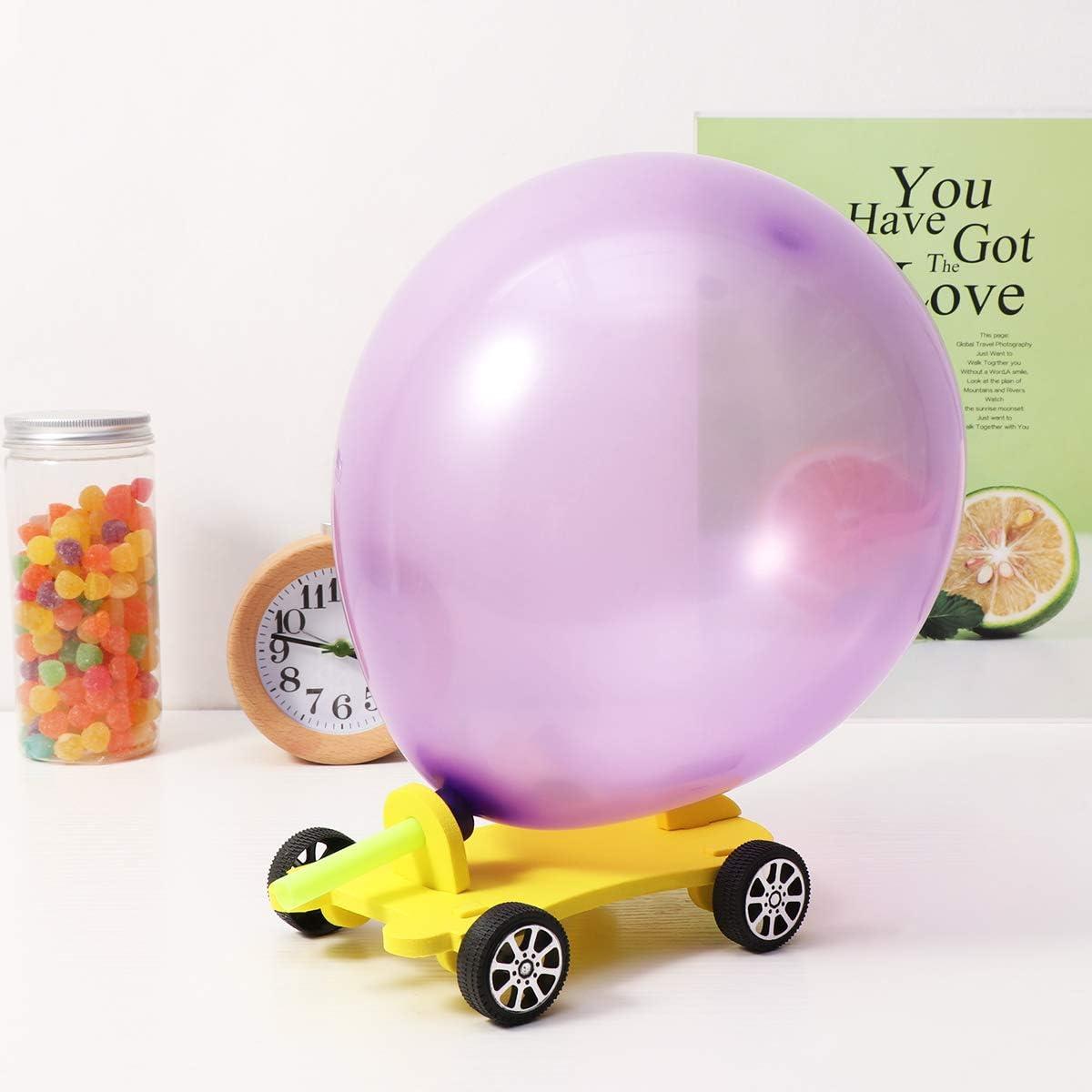 Toyvian 2PCS DIY Balloon Power Car Scientific Educational Model Balloon Cars Toy for Kids