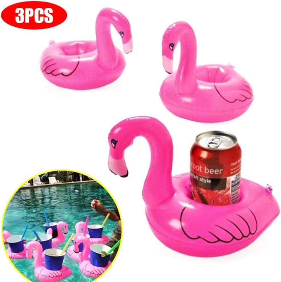 Brain Game WOQOOK - Juego de 3 posavasos inflables con flamencos, para piscina, juguetes flotantes, suministros para fiestas, color rosa