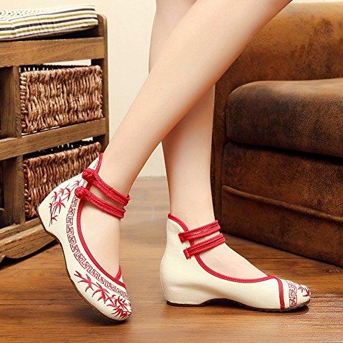 Donna Cinese Tradizionale Ricamo Zeppa Casual Scarpe Oxford Rosso