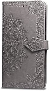 iPhone 7 Wallet Case Grey Mandala, iPhone 8 Flip Case with Card Holder, Patterned Faux Leather Phone Cover with Magnet Kickstand & Wrist Strap for iPhone 7 & iPhone 8 Case Women