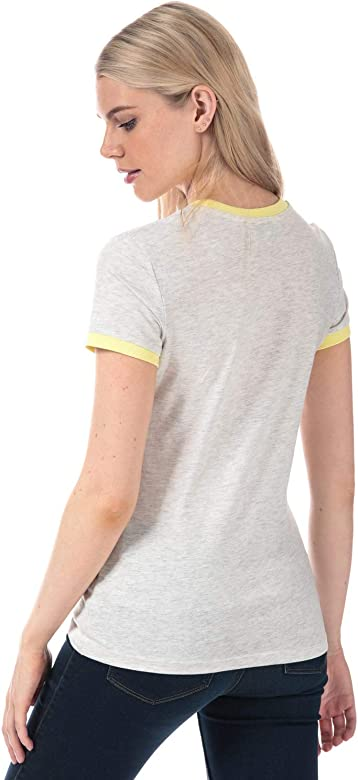 Brave Soul Womens California T-Shirt in White//Coral