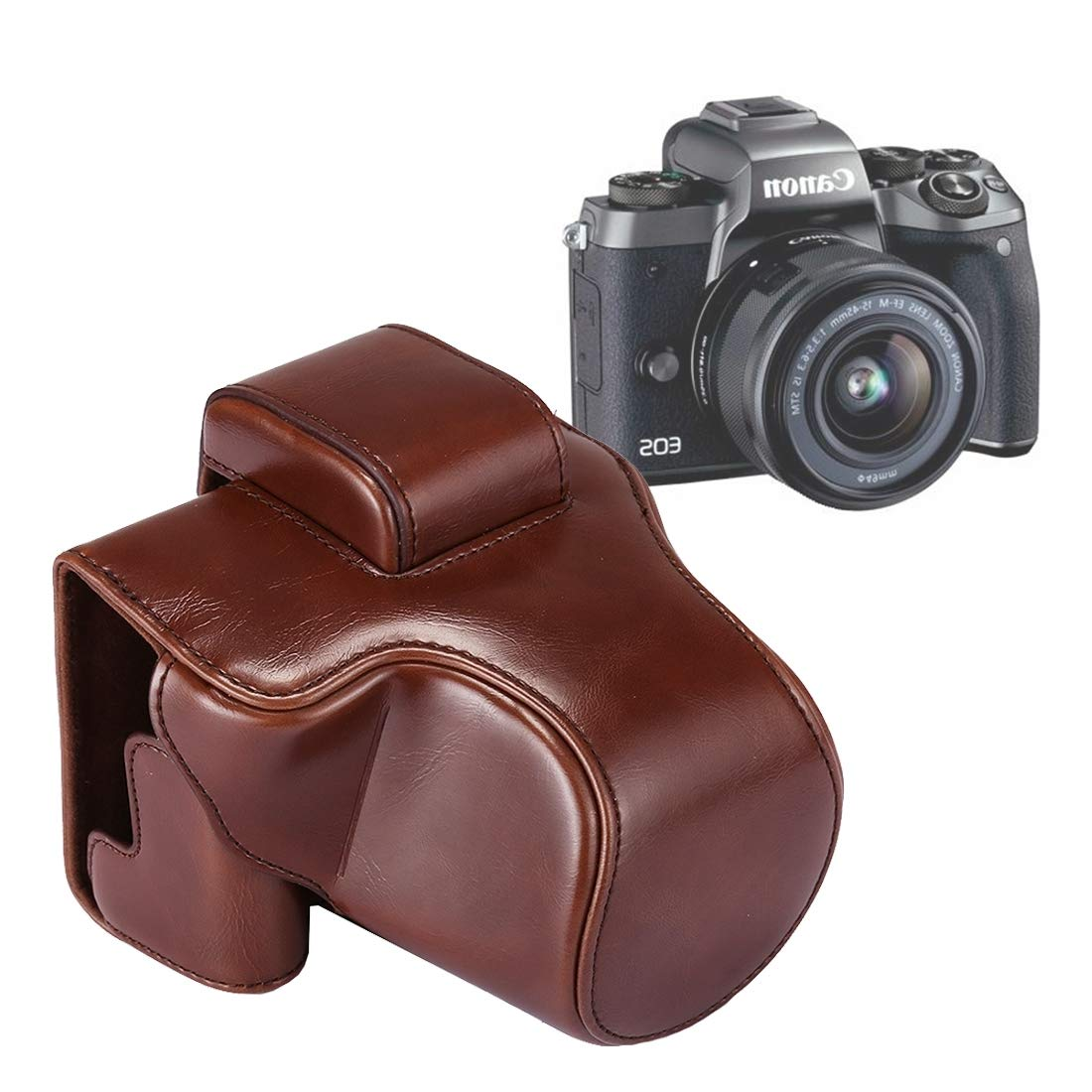 ShenBiadolr カメラケース フルボディカメラ PUレザーケースバッグ ストラップ付き Canon EOS M5用, ShenBiadolr B07M8VCB85 コーヒー